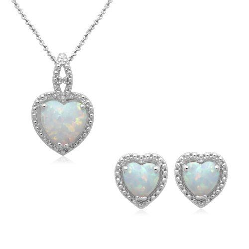 Sterling Silver Heart Created Opal and Diamond Pendant and Earring Box Set Amazon Curated Collection. Save 43 Off!. $74.10. Made in China. Opal is October's birthstone.. Gemstones may have been treated to improve their appearance or durability and may require special care.