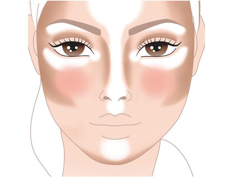 Por zonas¿Dónde aplicar qué y cómo? En líneas generales, puede decirse que el tono más oscuro debe utilizarse en las partes más hundidas del rostro (parte baja del pómulo, sienes, lados de la nariz, línea de la mandíbula...) mientras que el luminoso se reserva para las zonas que sobresalen (puente de la nariz, hueso del pómulo, centro de la frente, hueso de la ceja...)