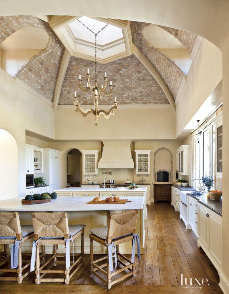 Mediterranean Cream Kitchen with Skyilght