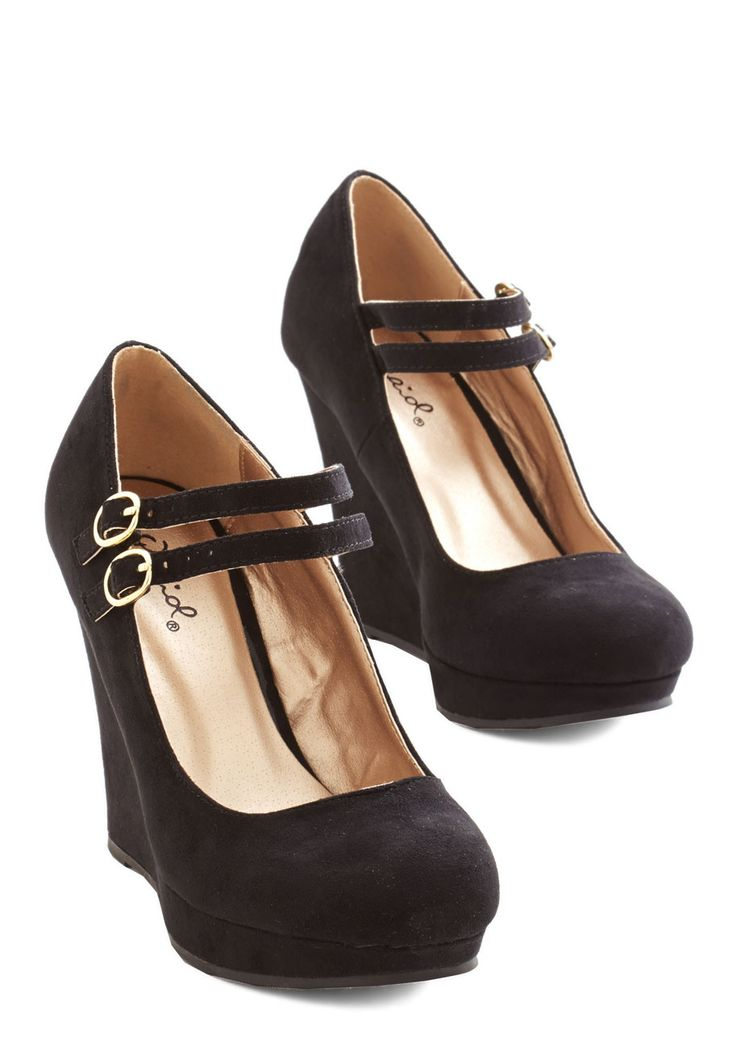 Strive for the Best Wedge. A hardworking gal like you needs these black wedges for a look that matches your ambitious nature. #black #modcloth