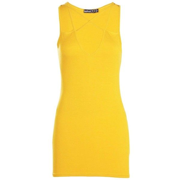 Boohoo Petite Melanie Strappy Bodycon Dress | Boohoo (540 RUB) ❤ liked on Polyvore featuring dresses, yellow dress, petite bodycon dresses, bodycon dress, cotton bodycon dress and yellow bodycon dress