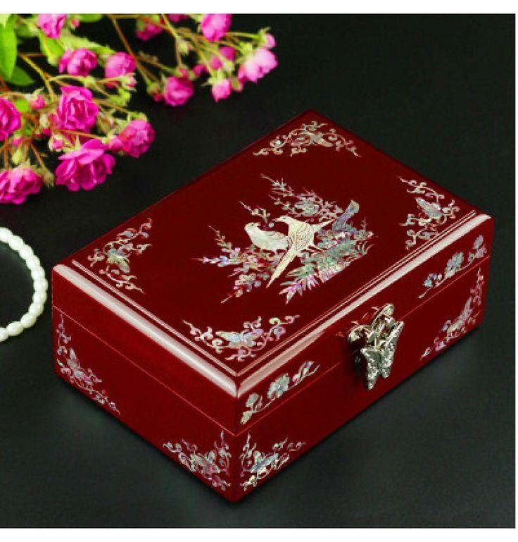 Holz Kassette Schmuck Box mit Perlen Lack