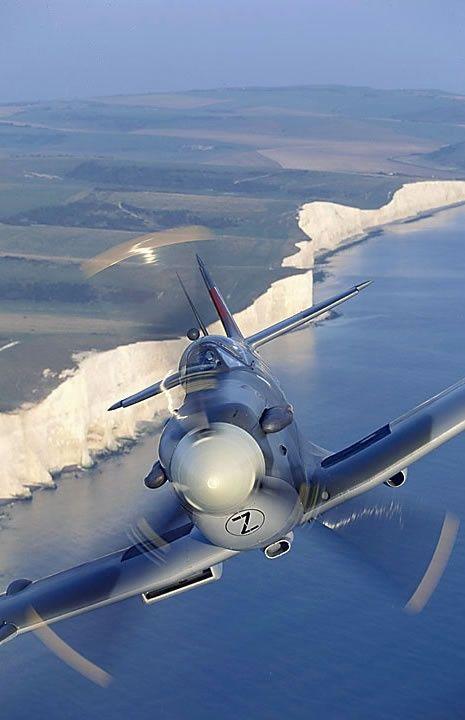 Supermarine Spitfire Mk.Vc and the white cliffs.