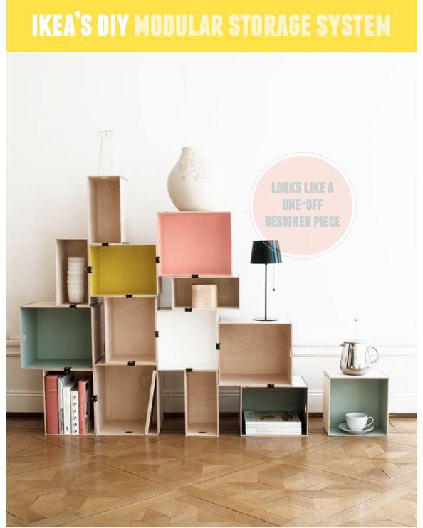 (Mais on utilise autre chose que des clips de bureau... de la colle, du velcro, des vis...quelque chose d'invisible.)  Modular storage system made from Ikea boxes = genius!  We love the bright, painted colors. #DIY