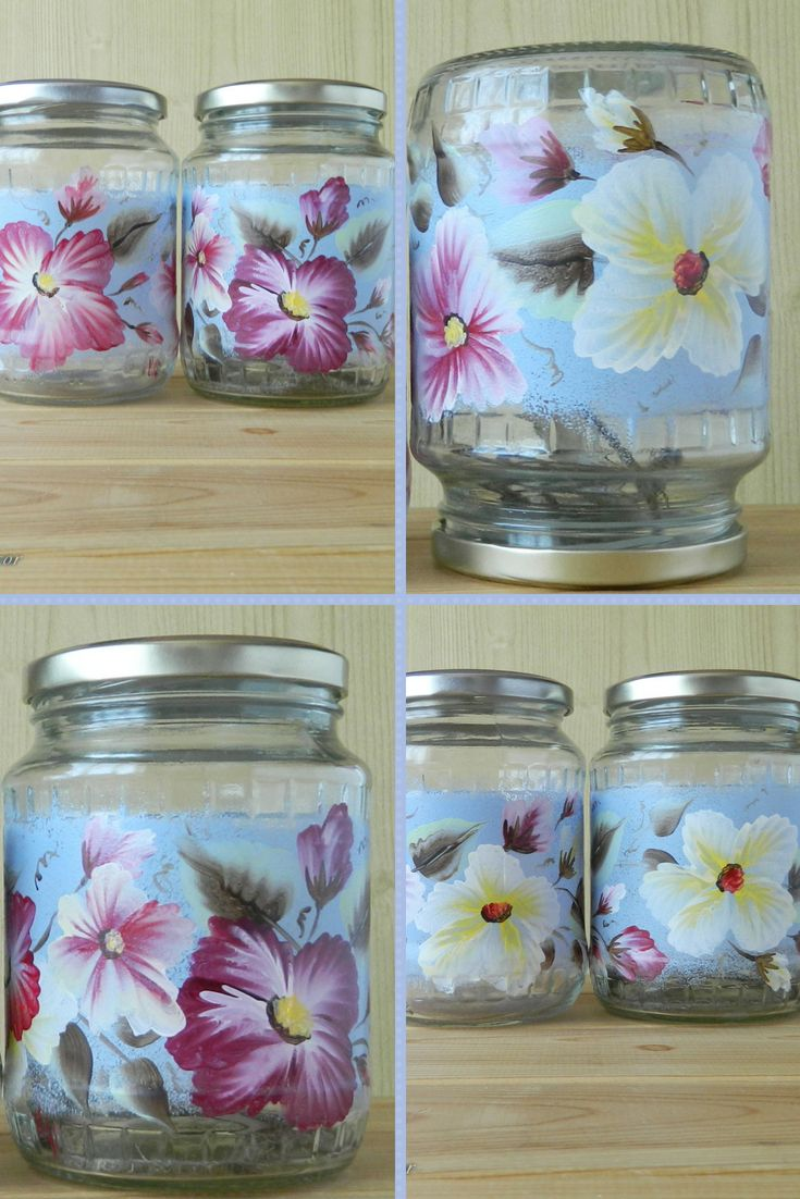The Blue Kitchen Canisters Set Has Two Hand Painted Gl Jars Fl Design Cookie Are Comfortable For Storage