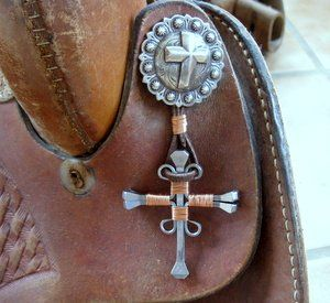 copper wire horseshoe nail cross (another cross for you Lisa H. - you just pinned a nail cross)