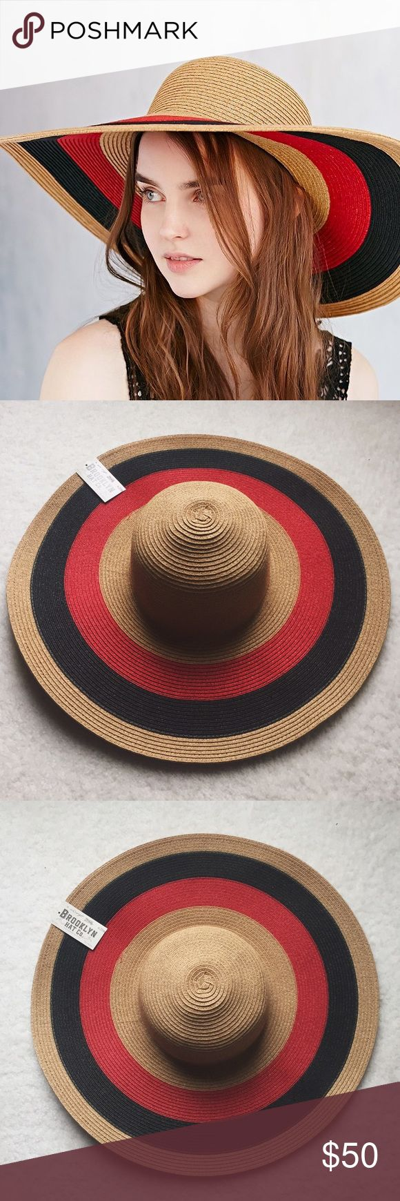 Free People striped floppy sun hat Structured and perfect for keeping the sun away from your face. Brand is Brooklyn Hat Co., purchased at Free People (was also sold at Urban Outfitters). Offers welcome! Free People Accessories Hats