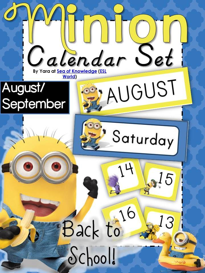 This pack is a minion themed calendar card set. I have ...