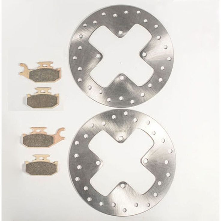 2007 Can-Am Outlander Max XT 500 Front Brake Rotors and Severe Duty Brake Pads, Silver stainless steel