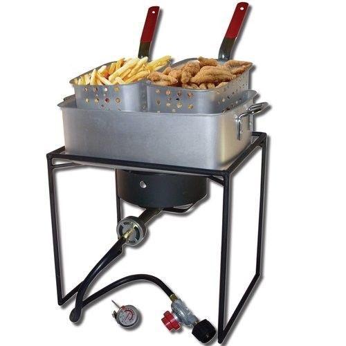 Outdoor Fish Fryer Propane Cooker Stove Basket Deep Fry Burner Gas Camping Cajun #KingKooker