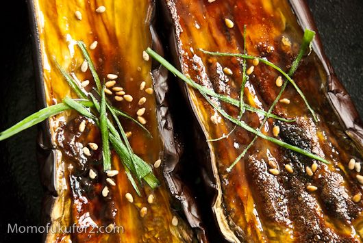 Momofuku's Recipe: Nasu Dengaku/Miso Glazed Eggplant Recipe. I love the version of this dish that Ginza in Boston's Chinatown makes as well although I believe theirs is not vegan like this one is. I haven't made this dish so I can't be sure how it compares to Ginza's version.