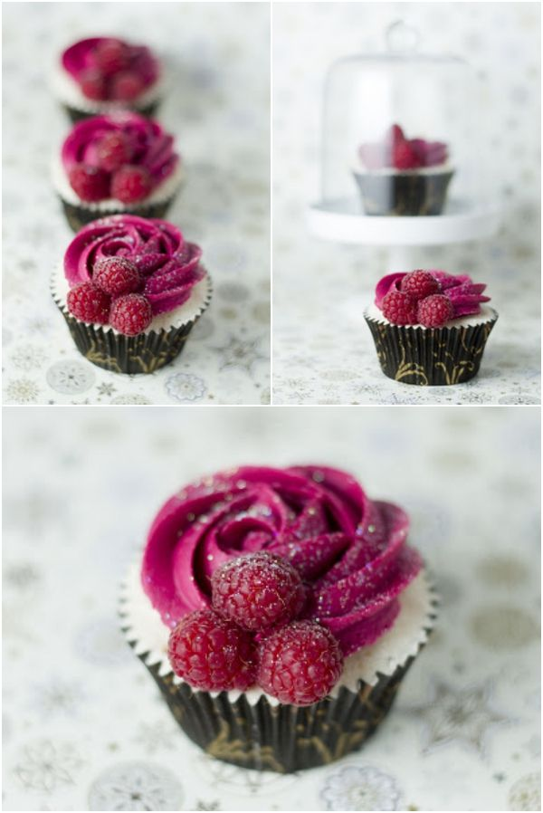 Champagne and Raspberry cupcakes-I like this idea that you could indicate the flavor of cupcakes by the color of the icing and bits of fruit...strawberry, blueberry, raspberry, etc.