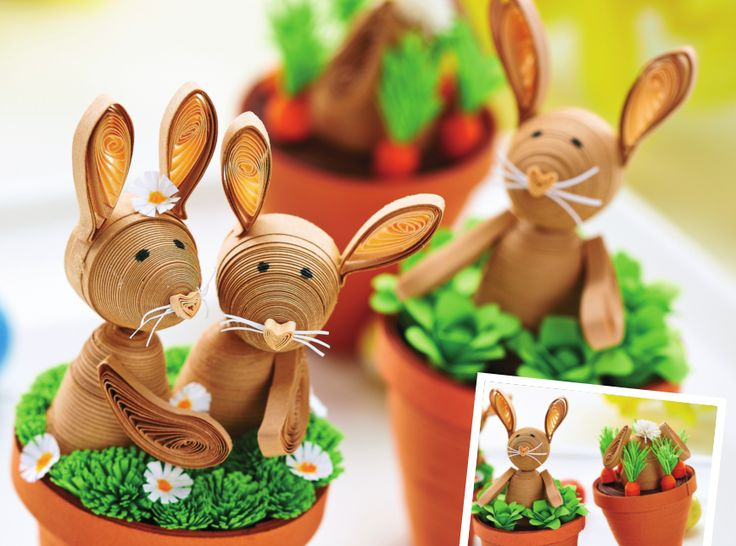 Mini Quilled Bunnies - Free Craft Project – Papercraft - Crafts Beautiful Magazine