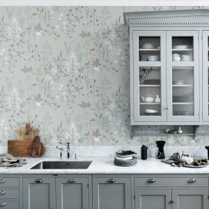 Wallpaper Flora Turqouise From Collection Flora Sandbergica By Sandberg Wallpaper Kitchen