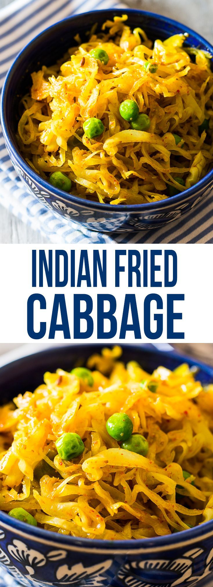 Try this Indian version of Fried Cabbage for the perfect side dish – easy, spicy and chock block full of flavor! We love adding some peas, tomatoes and potatoes for a more hearty version