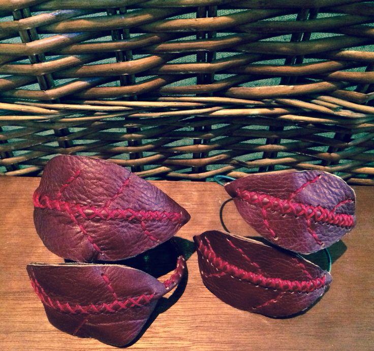 Leather leaf armband. Jenny South.