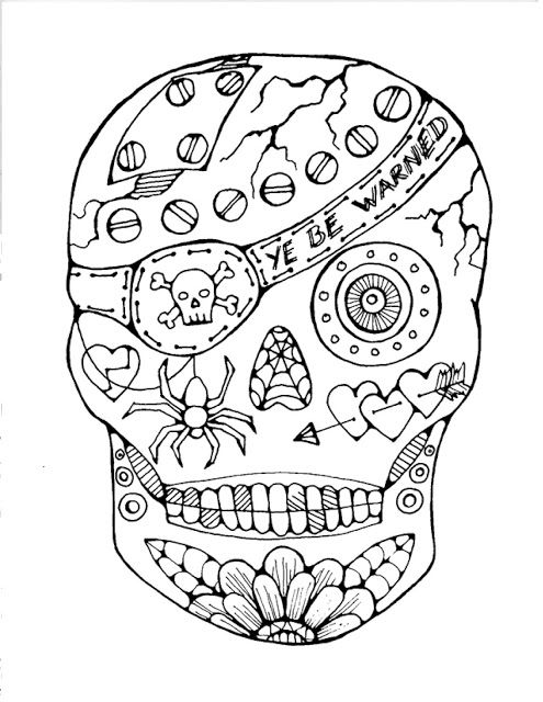 pirate sugar skull free coloring page is featured in great halloween crafts and fun coloring - Sugar Skulls Coloring Pages Free