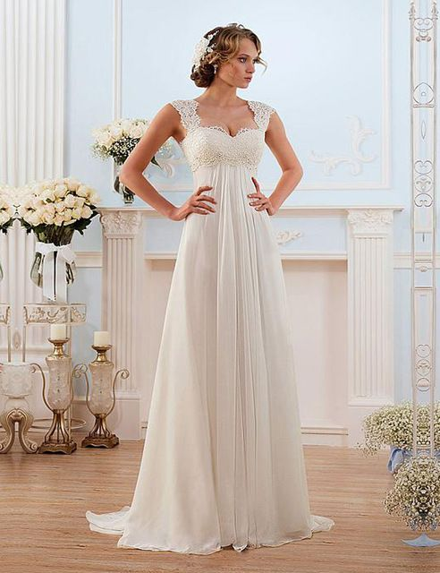 In Stock Vestido de noiva Lace Wedding Dresses Sweep Train Lace-up Back Chiffon Wedding Dress New Arrival Floor Length Dress