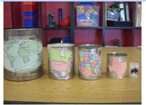 map nesting cans. perfect for teaching my place in the world.