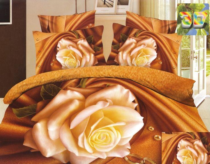 Modna miodowa pościel 3D do pokoju w kremowe róże