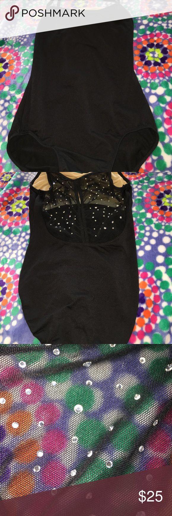 Black dance leotard Sheer/ bling back motion wear Other