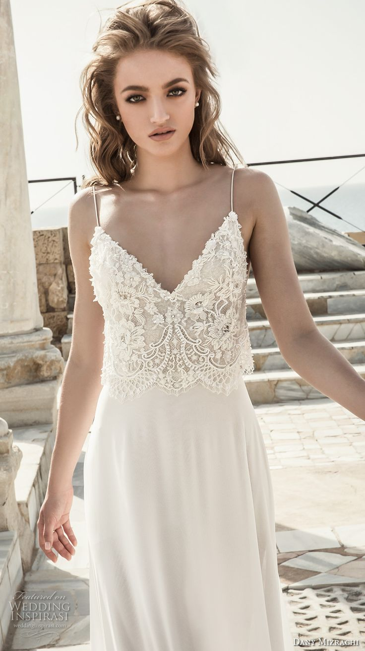 dany mizrachi 2018 bridal sleeveless spaghetti strap sweetheart neckline heavily embellished bodice lace top grecian column wedding dress (12) zv -- Dany Mizrachi 2018 Wedding Dresses