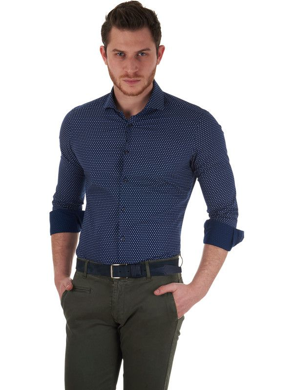 Delsiena Glam blue shirt for men with white floral micro-pattern - 100% pure cotton