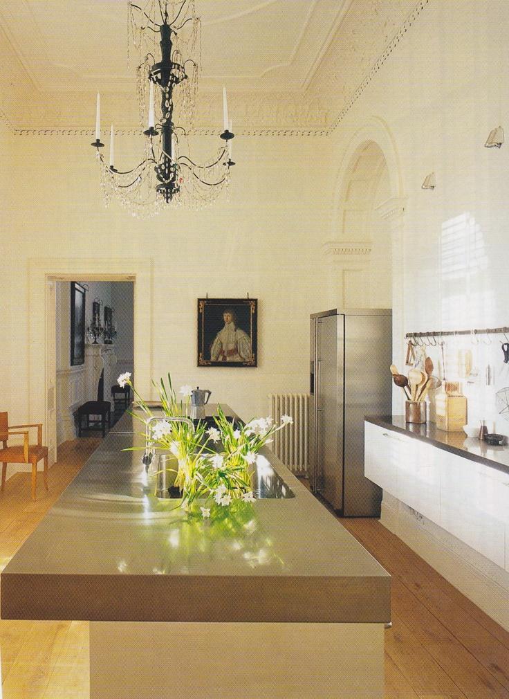 Modern kitchen, antique art