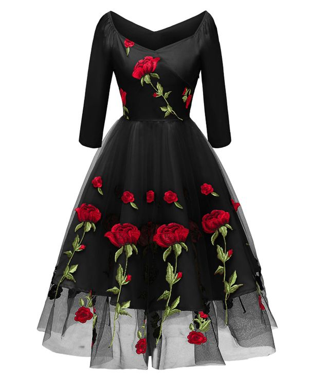 Vintage Style Mesh Rose Floral Dresses - Maria Mutul