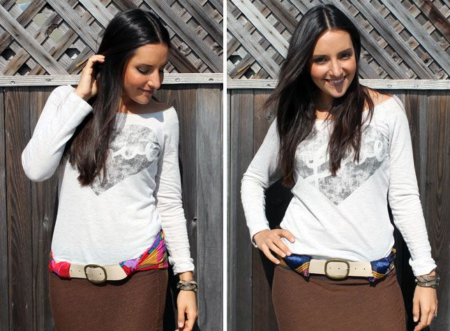 Got an old belt and a scarf? Turn it into a totally versatile scarf belt!