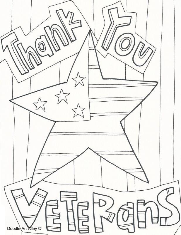 Thank you veterans day coloring