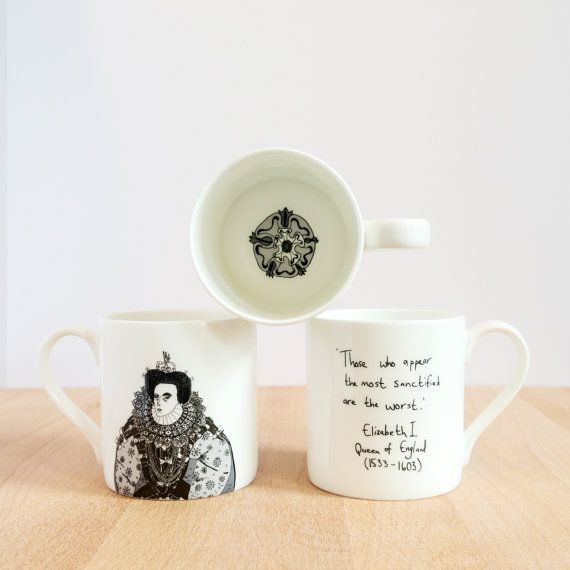 Part of the Great Britons series, this mug features Elizabeth I, Queen of England on the front, a quote on the reverse, and the Tudor rose inside.
