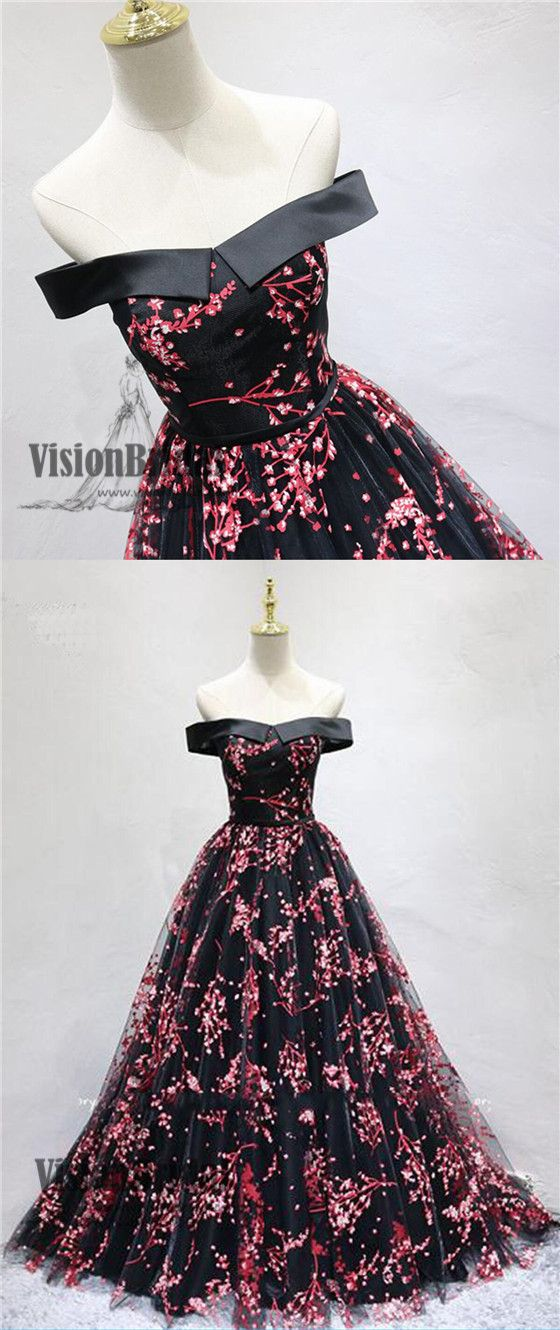 1e49874fb17 2018 Newest Off The Shoulder Top Satin Lace Up Flower Printed Tulle A-Line  Long Prom Dress