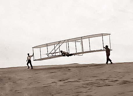 Orville Wright Making a Test Flight in Unpowered Glider