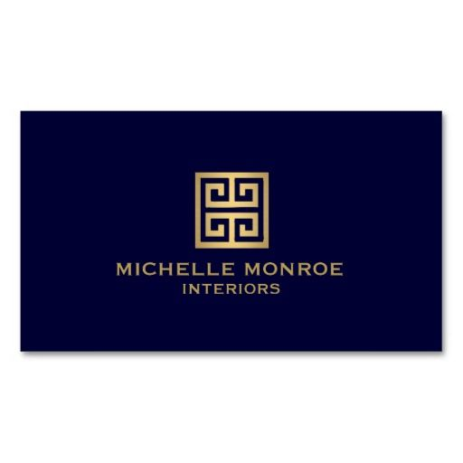 beautiful customizable dark blue and faux gold business cards for interior designers stylists decorators