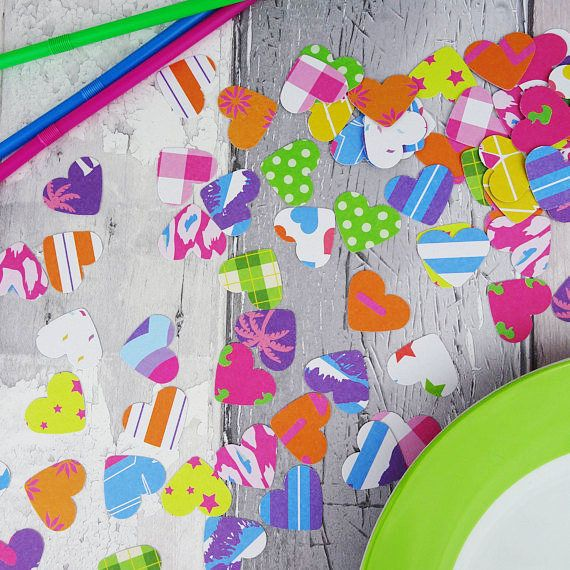 Rainbow patterned heart table sprinkles Bright colours &