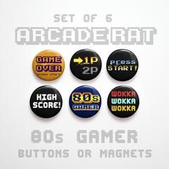 80s Gamer Buttons 1 inch or 80s Arcade Magnets - 1980s Party Favors