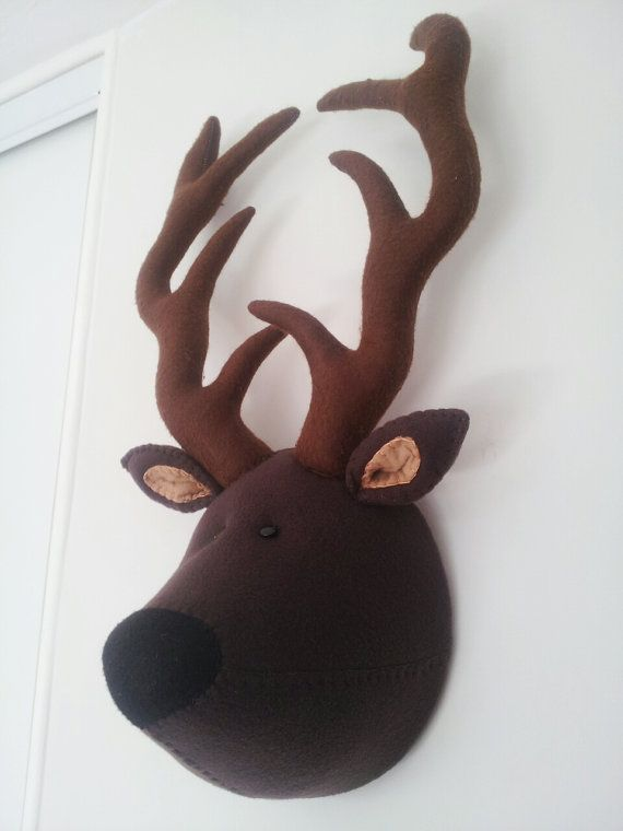 SIDNEY STAG Faux Taxidermy Fabric Wall by GillsPopArtEmporium