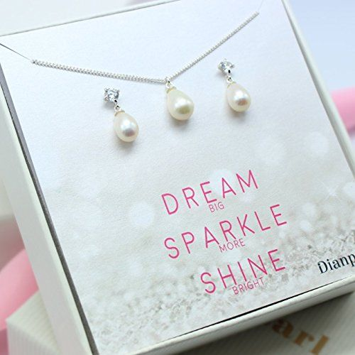 Amazon.com: Silver freshwater pearl jewelry set,Bridesmaid gifts personalized, will you be my bridesmaid card, jewelry box, freshwater pearl, pearl drop necklace, set of: Handmade