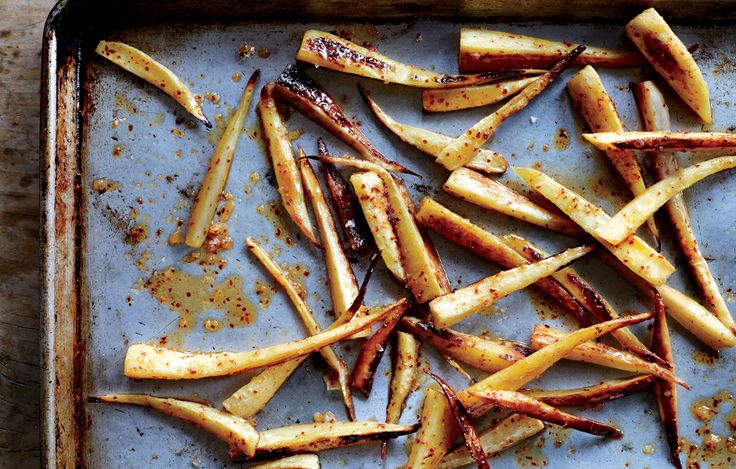 Spicy Honey-Glazed Parsnips, Bon Appétit, Mar. 2014 issue.  Expand your cooking repertoire with a new root vegetable.