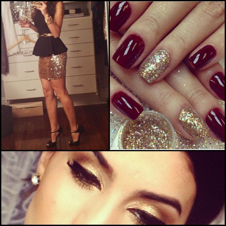 Christmas outfit courtesy of @makeupbycamila. Black peplum top, gold skirt, gold eyeshadow, red nails with gold accent