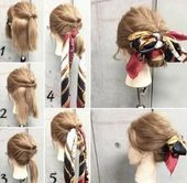 How to Make Adorable Hairstyles with Scarf. Gorgeous Korean Wedding Hairstyles.-... - #Adorable #Gorgeous #Hairstyles #korean #Scarf #wedding