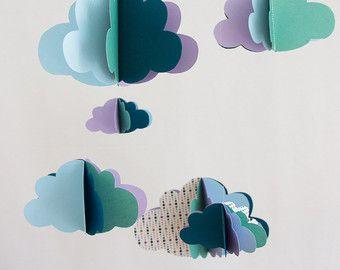 Nuvole di carta mobile + corona di nuvole con - pisello viola verde blu - MODELLO SINGOLO-nascita regalo deco camera bambino mobile giunto