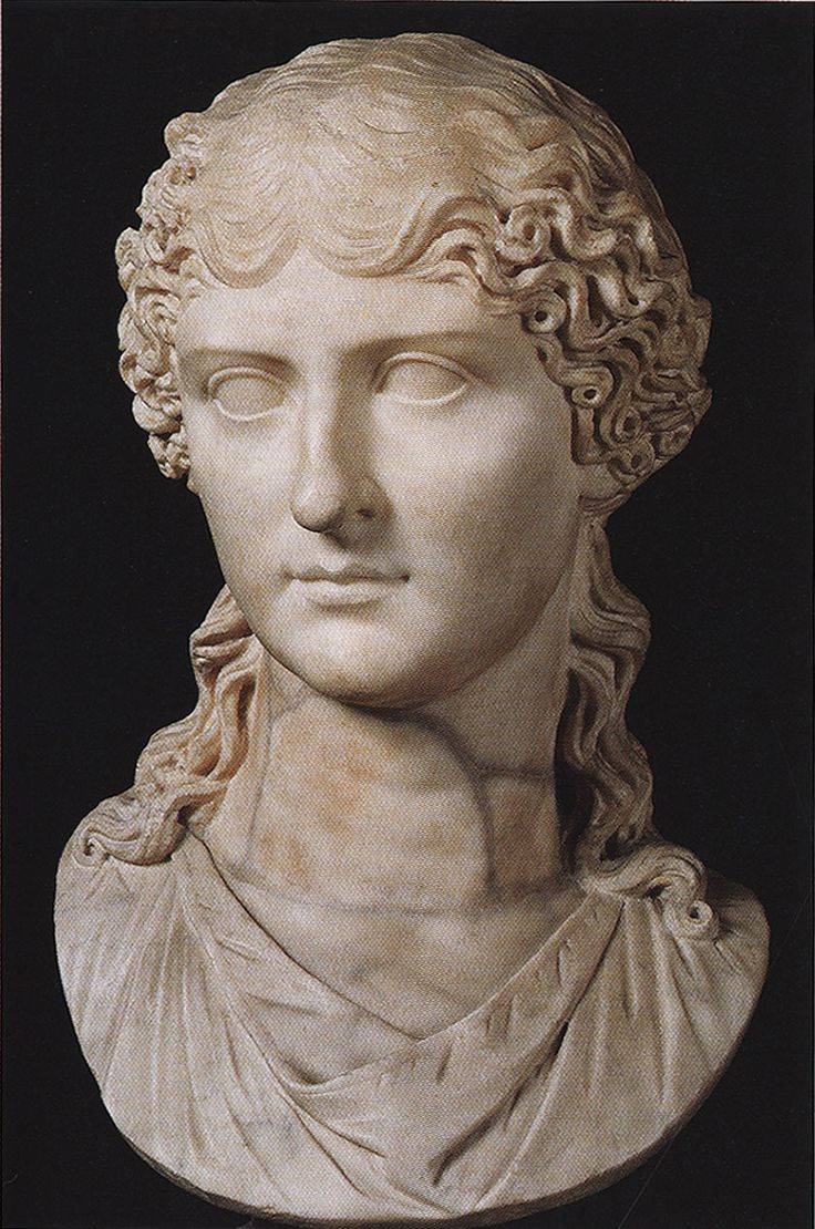 AGRIPPINA THE ELDER (14BC-33CE) was a descendant of Augustus' 2nd wife Scribonia as a daughter of Julia the Elder. She was married to Germanicus, the obvious heir to Augustus, but her husband was overlooked in favor of Augustus' 3rd wife's son, Tiberius. When Germanicus died young, Agrippina took the side of those who thought Tiberius may have had him poisoned & became a vocal critic. She was exiled & murdered, but was survived by her son Caligula, who became the next emperor.