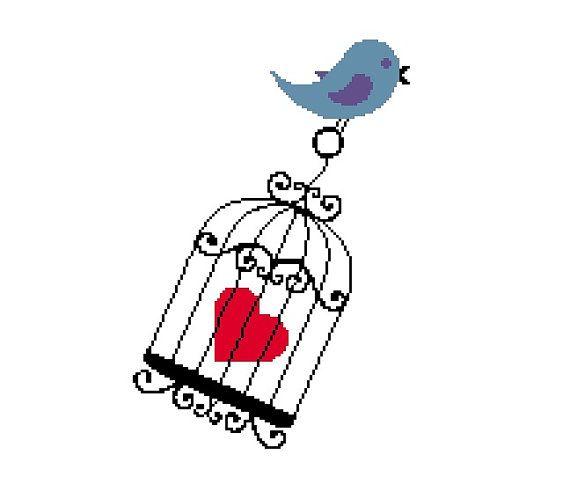 Cute Cross Stitch Pattern Bird Carrying Heart by CrossStitchDiva, $4.50