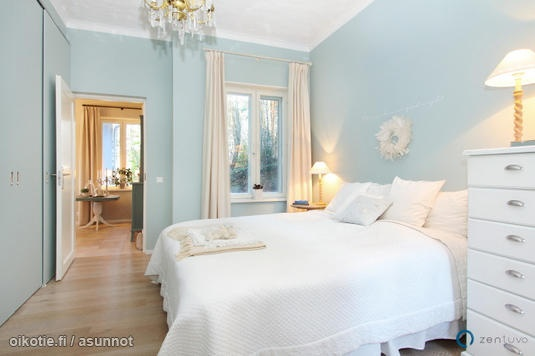 A pale duck egg blue is what I'm hinting for the walls of our bedroom