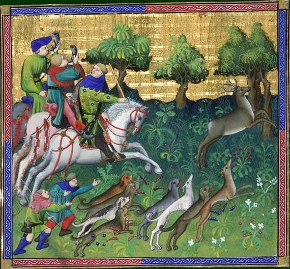 Le livre de chasse, folio 87   ci devise comment le bon veneur doit chasser et prendre le chevreuil à force