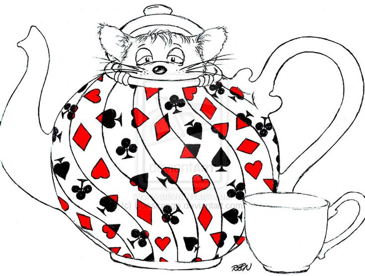 Images For > Alice In Wonderland Teapot Drawing | group ...