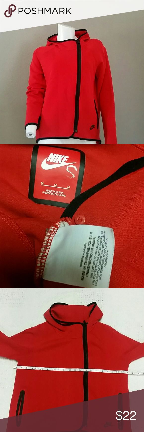 Nike tech red full zip hoodie jacket high low M Nike tech red with black trim jacket, off side front full zip, hooded, high low hem, frint zip pockets, preowned, slight pilling, cotton polyester blend, thumb holes Nike Tops Sweatshirts & Hoodies