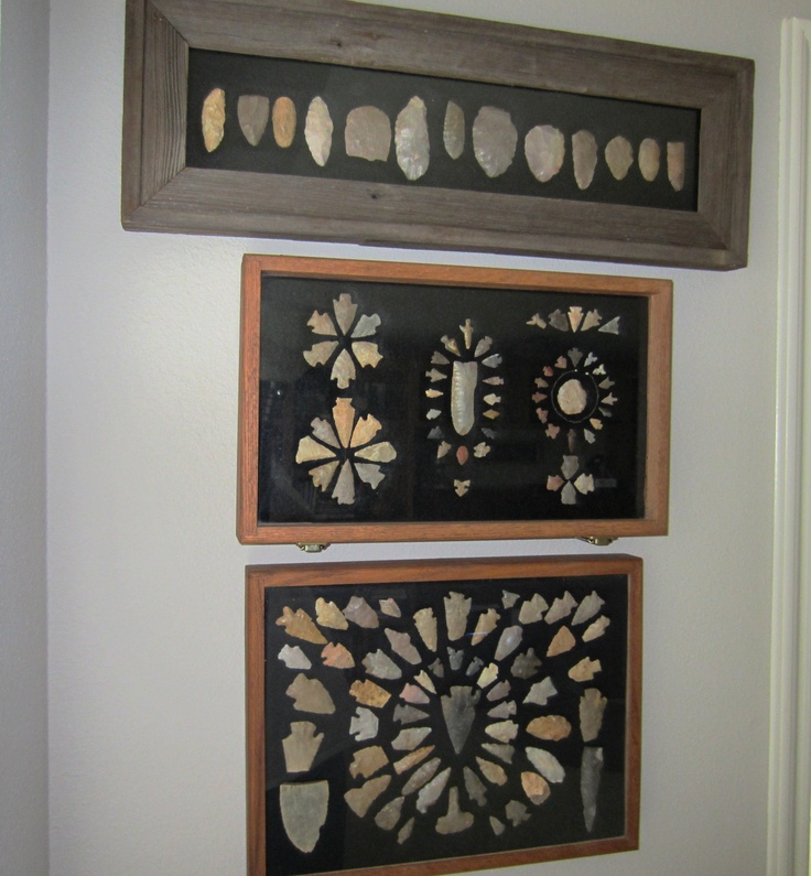 three frames of nice Oklahoma,points, finds from long ago Osage, Kaye, Tulsa, and leflore counties.